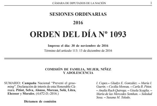 Resumen de la Sesión del 13 de septiembre